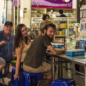 Pierre, Bila, and myself at Maeklong Train Station, Umbrella Market, Thailand