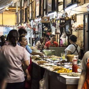 Assorted food vendors Siam Station passage way, Bangkok