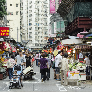 A small produce market in the Kowloon area of Hong Kong