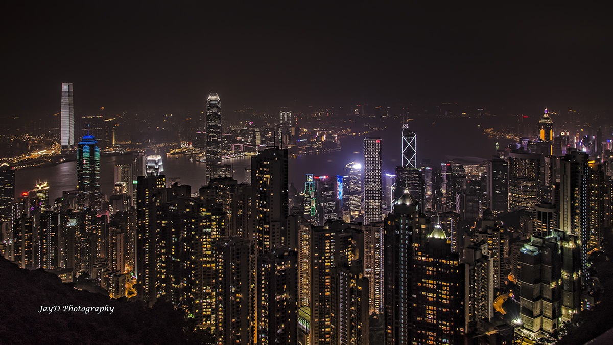 Victoria Peak, looking out over Hong Kong and Kowloon on the mainland side.