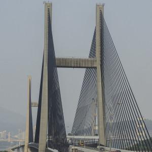 Close up of the Tsing Ma Bridge that connects Lantau Island to Hong Kong