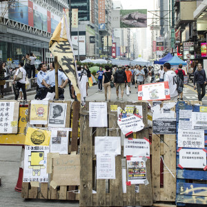 Peaceful protests from the Mongkok site during the Umbrella Revolution