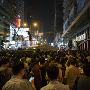 Building a higher barricade in Kowloon for the Umbrella Revolution