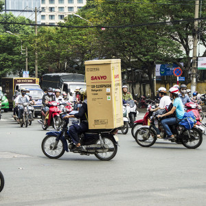 Fridge on a motorbike - Ho Chi Minh CIty, Vietnam