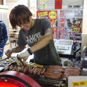 Sausage food cart at Shilin Night Market - Taipei, Taiwan