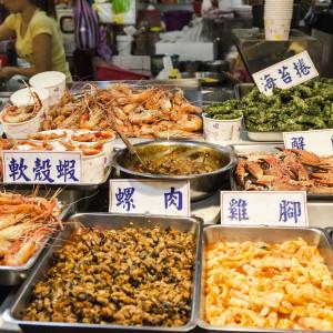 Seafood at the Shilin Night Market in Taipei, Taiwan