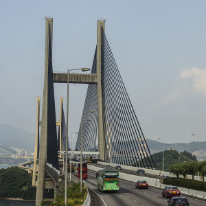 Tsing Ma Bridge connects Lantau Island with Hong Kong