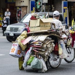 He has a lot of stuff on the bike!